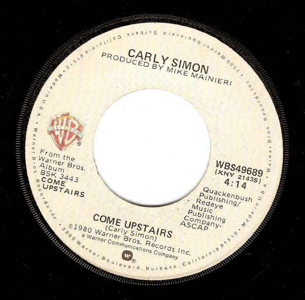CARLY SIMON Come Upstairs Vinyl Record 7 Inch US Warner Bros. 1980